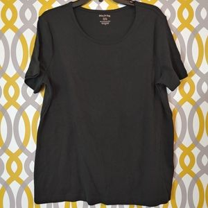 WHITE STAG Black Scoopneck Short Sleeve Shirt XL